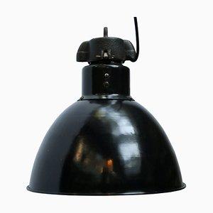 Lampe à Suspension Industrielle en Émail Noir, 1930s