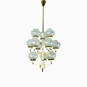 Mid-Century Brass and Metal Chandelier, 1960s