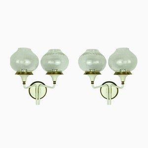 Applique in ottone e vetro, anni '60, set di 2