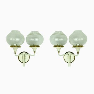 Brass and Glass Sconces, 1960s, Set of 2