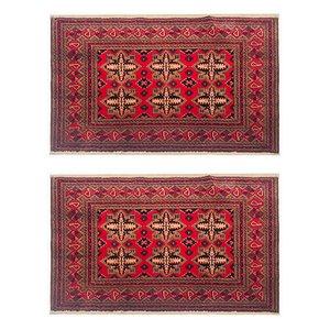 Vintage Hand-Knotted Turkmen Wool Carpets, 1970s, Set of 2