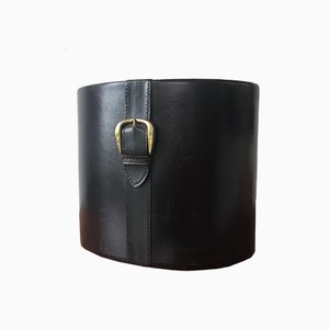 Vintage Leather Oval Paper Basket with Brass Buckle, 1950s