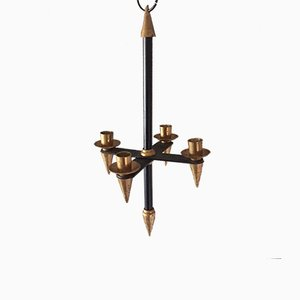 Vintage Brass and Black Metal Hanging Candleholder by Gio Ponti, 1960s