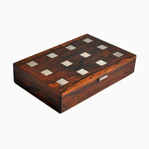 Rosewood and Silver Inlaid Box by Hans Henrik Hansen for H.P. Hansen, 1960s