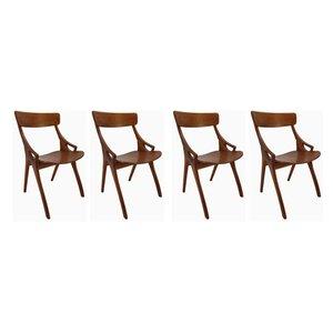 Modell 71 Esszimmerstühle aus Eiche von Arne Hovmand-Olsen für Mogens Kold, 1959, 4er Set