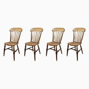 Sedie da cucina Windsor antiche, set di 4