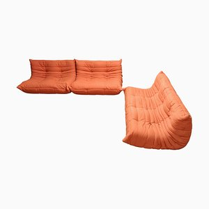 Vintage Orange Togo Sofas by Michel Ducaroy for Ligne Roset, 1970s, Set of 3