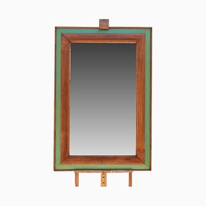 Vintage Green & Brown Mirror, 1940s