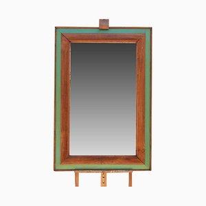 Vintage Spiegel mit grünem & braunem Rahmen, 1940er