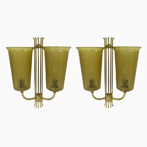 Large Brass Sconces, 1950s, Set of 2