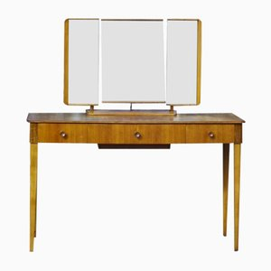 Mid-Century Walnut Dressing Table with Triptych Mirror by Gordon Russell for Russell of Broadway, 1950s
