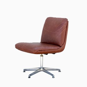 Industrial Brown Leather Swivel Chair, 1960s