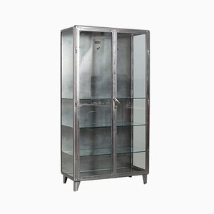 Polished Steel Medical Cabinet, 1920s