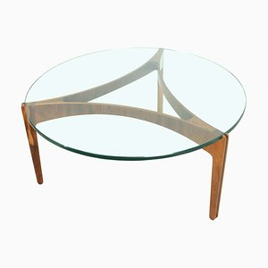 Round Mid-Century Danish Rosewood & Glass Coffee Table, 1960s