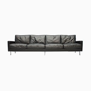Large Vintage Black Leather 4-Seater Sofa, 1962