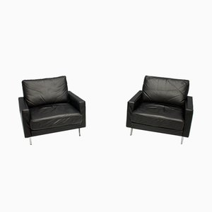Black Leather Lounge Chairs, 1962, Set of 2