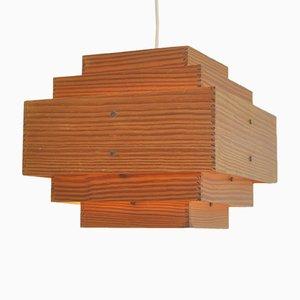 Lámpara de techo de diseño escandinavo de pino, años 60