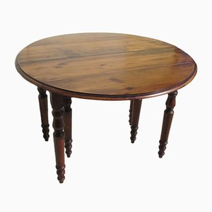 Antique Fir Round Extendable Dining Table, 1900s