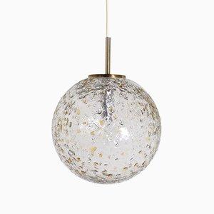 Lámpara colgante esférica de vidrio texturizado, años 70