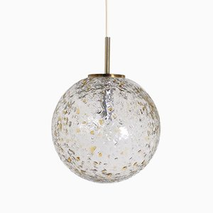 Textured Glass Ball Pendant Lamp, 1970s
