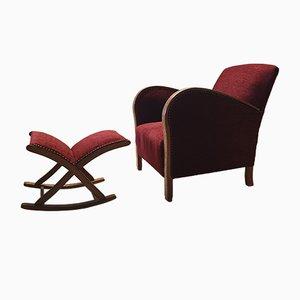 Juego de silla y otomana Club Art Déco vintage, años 30. Juego de 2