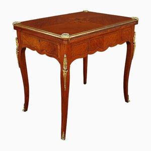 Mesa de juegos antigua estilo Napoleón III con incrustaciones