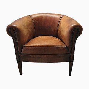 Cognacfarbener Mid-Century Armlehnstuhl aus Schafsleder von Lounge Atelier, 1970er