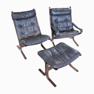 Leather Siesta Set with 2 Lounge Chairs & Ottoman by Ingmar Relling for Westnofa, 1960s