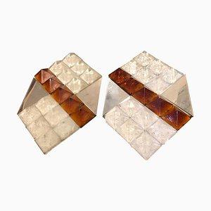 Apliques de cristal de Murano en blanco y marrón de Albano Poli para Mazzega, años 70. Juego de 2
