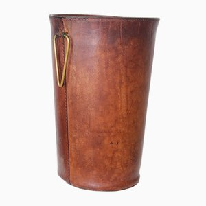 Leather Waste Basket by Carl Auböck for Atelier Carl Auböck, 1950s
