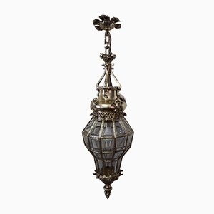 Antique Bronze and Cut Crystal Glass Ceiling Lamp
