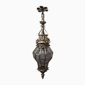 Plafonnier Antique en Bronze et Verre de Cristal Taillé