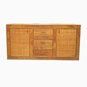 Italian Rattan and Brass Sideboard, 1970s