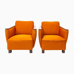 Art Deco Orange Club Chairs, 1930s, Set of 2
