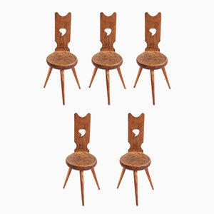 Swiss Rustic Dining Chairs, Set of 5