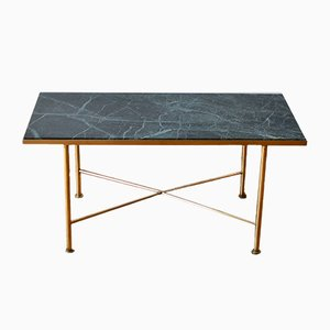 Table Basse Vintage en Marbre Vert et Laiton, Italie, 1950s