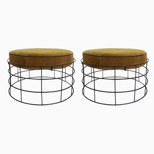 Suede T1 Stools by Verner Panton for Plus-Linje, 1950s, Set of 2