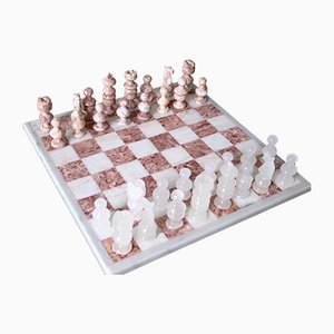 Vintage Italian Rosa & White Carrara Marble Chess Set, 1940s