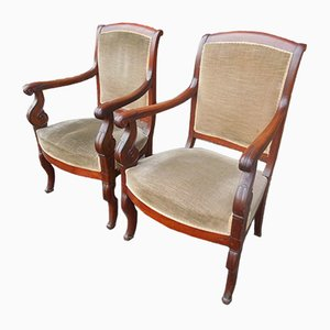 19th-Century Charles X Armchairs, Set of 2