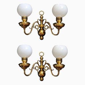 Wandlampen aus Messing & Glas von Lucien Gau, 1950er, 2er Set