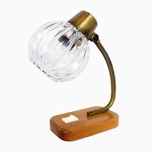 Art Deco Wood and Clear Glass Table Lamp, 1930s