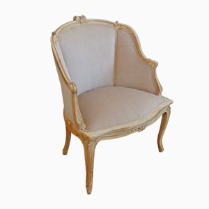 Antique Louis XV Style Velvet Bergere Armchair