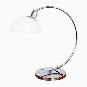 Italian Chromed Metal and Opaline Glass Table Lamp, 1980s