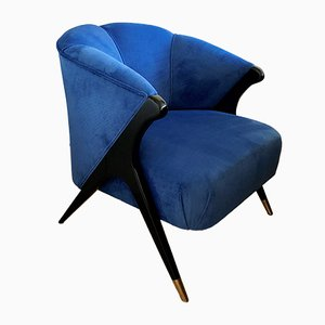 Mid-Century French Blue Armchair, 1940s