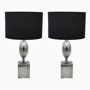 Chromed Metal Table Lamps by Philippe Barbier, 1970s, Set of 2