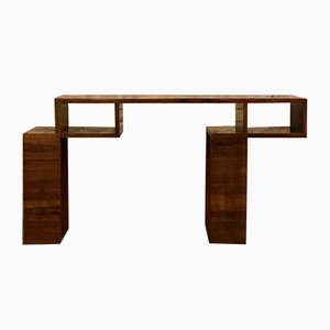 French Walnut Console Table, 1940s