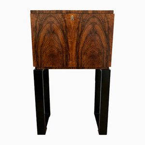 Art Deco French Walnut Bar Cabinet, 1930s
