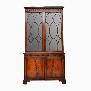 Georgian Style Flame Mahogany Display Cabinet, 1930s
