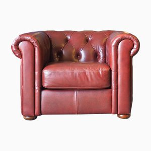 Oxblood Chesterfield Armchair, 1980s