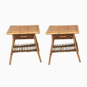 Tables de Chevet en Rotin, 1960s, Set de 2